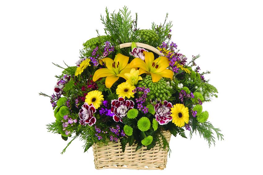 Cesta de flores bonito centro de flores a domicilio for Plantas baratas